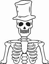 Skeleton Coloring Halloween Printable Wearing Hat sketch template