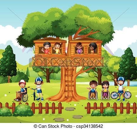 Eps Vector Of Children Playing At The Treehouse In The