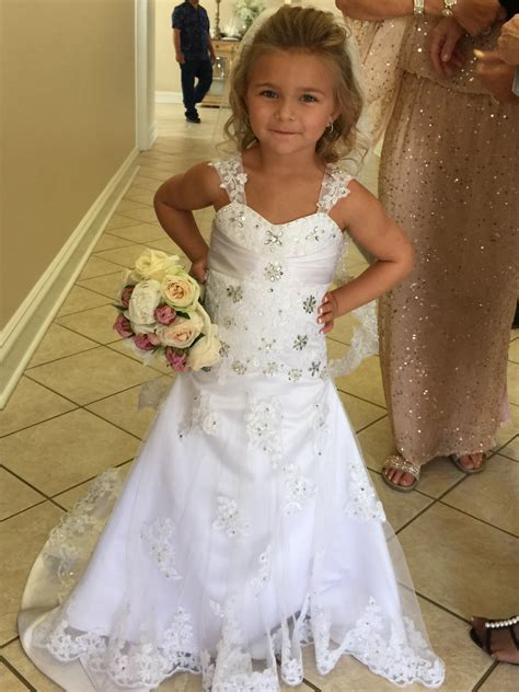 white lace flower girl dress  match  wedding dress