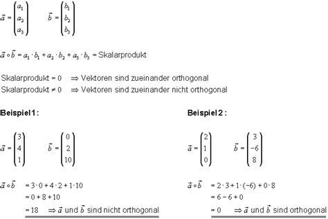 orthogonalitaet das skalarprodukt