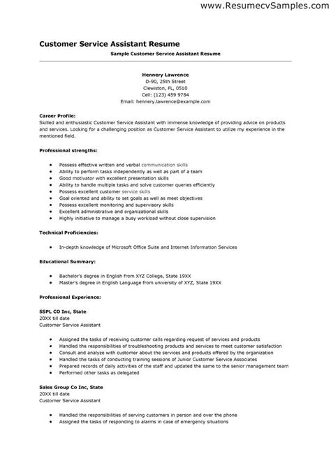 Sle Of Resume For Customer Service by Resume Skills Exles Customer Service Resume