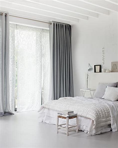 white and gray curtains beautiful white bedrooms