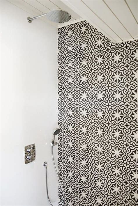shower  black  white moroccan tiles mediterranean