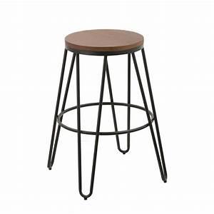Tabouret De Bar Metal : tabouret de bar loft bois et m tal noir lot de 2 koya design ~ Teatrodelosmanantiales.com Idées de Décoration