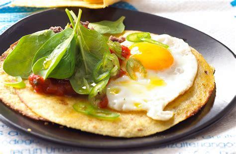 savoury pancakes  fried eggs tesco real food