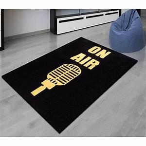 tapis ado on air noir jaune blanc 120 x 150 cm maison With tapis noir et jaune