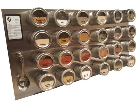 Stainless Steel Magnetic Spice Rack by 24 Tin Magnetic Spice Rack Jars Labels Spoons Stainless