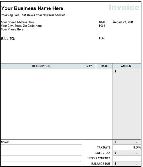 blank invoice statement form  invoice template
