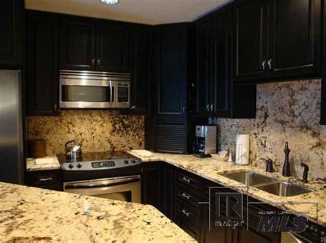 Black Cabinets With Marble Countertops by Black Kitchen Cabinets And Granite Countertops Interior