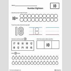 Number 18 Practice Worksheet  Numbers & Counting  Numbers Preschool, Numbers Kindergarten