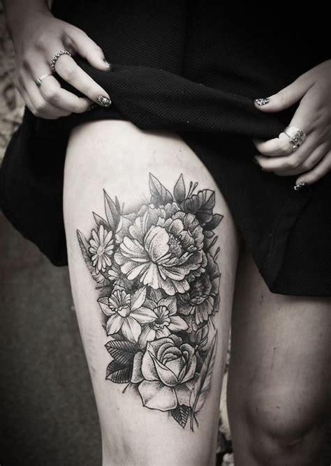 alex tabuns floral thigh tattoo   side thigh tat  alex tabuns