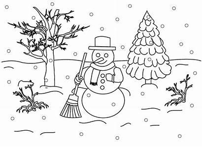 Coloring Pages Landscape Winter Snowman Christmas Scene