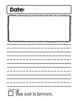kindergarten journal writing pages with writing
