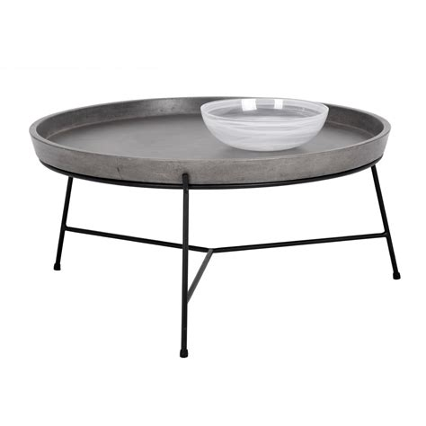 remi 23 table l sunpan remy coffee table w concrete tray like top on black 4688