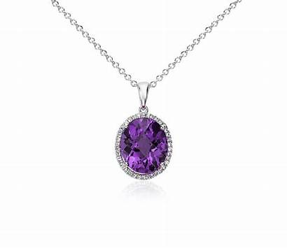 Pendant Silver Oval Sapphire Amethyst Sterling Halo