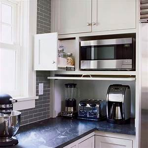 kitchen storage idea flip down door hides blender With what kind of paint to use on kitchen cabinets for hanging candle holders wholesale
