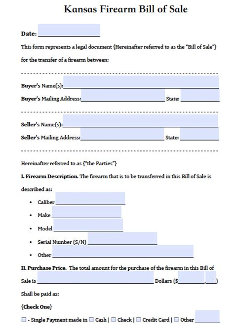 Boat Bill Of Sale Kansas by Free Kansas Firearm Gun Bill Of Sale Form Pdf Word Doc