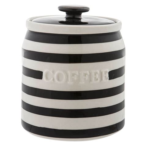 striped coffee canister black white coffee canister