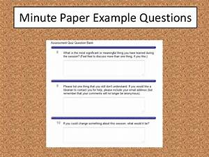 how to improve library instruction assessment in five minutes With minute paper template