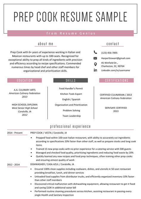 prep cook resume  writing tips resume genius