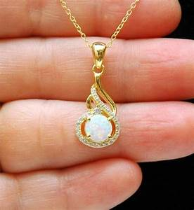 Gold CZ & White Opal Necklace, October Birthstone Necklace ...
