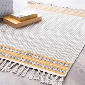 tapis en coton gris jaune 60 x 90 cm miranda maisons du With tapis jaune avec canapé en coton
