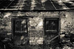black and white, stone houses, old house, doors :: Wallpapers