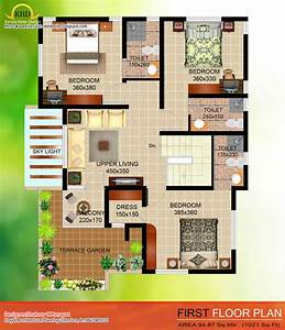 2035, Sq, Ft, 4, Bedroom, Contemporary, Villa, Elevation, And, Plan