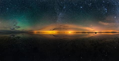 stars landscape night long exposure reflection lake