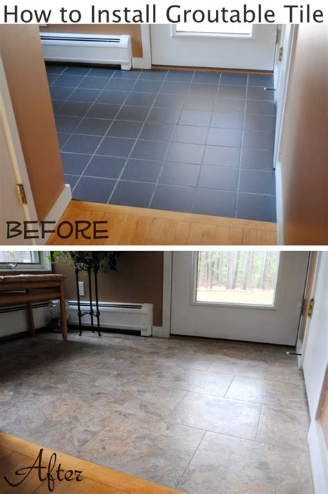 Installing Groutable Peel And Stick Tile by Diy How To Install Groutable Vinyl Floor Tile Burger