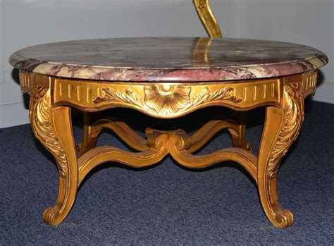 Pretty Round Coffee Table, Louis Xv Style, Gilded Wood And