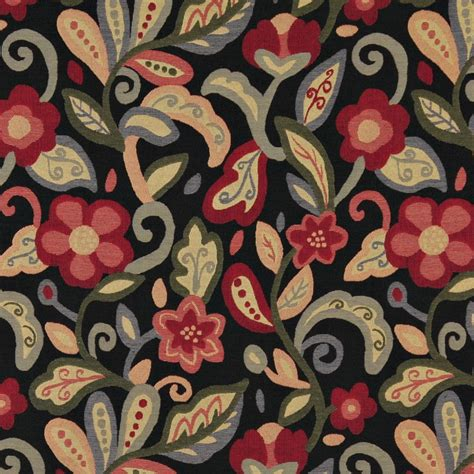 Floral Upholstery Fabric by Green Orange And Black Floral Contemporary