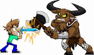 Minotaur Fighting With Boy