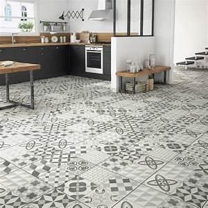 Carrelage sol gris effet ciment ruban l45 x l45 cm for Tapis couloir avec canapé au sol modulable