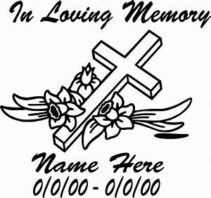 in loving memory cross decals With memory cross template