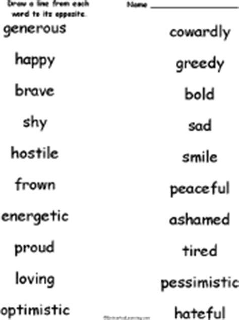 opposites antonyms matching worksheets at