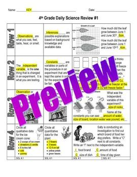 science daily review worksheet quiz bundle 4th grade