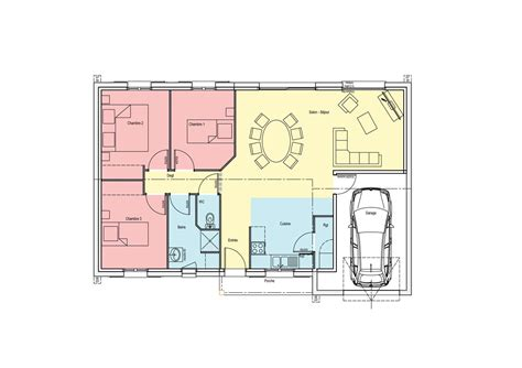 plan 3 chambres plan maison 100m2 3 chambres plan maison rectangle