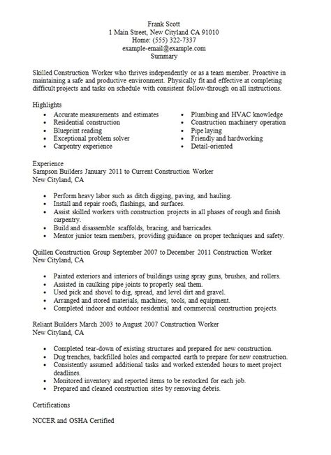 exle resume construction worker construction worker resume sle resumes design