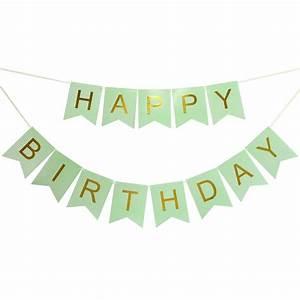 Banderines Happy Birthday Verde Pastel Letra Dorada