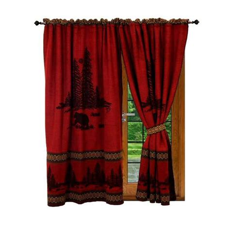wooded cabin curtains set rustic mountain lodge