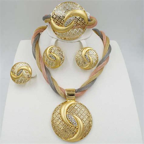 dubai gold color new fashion jewelry set bridal nigeria