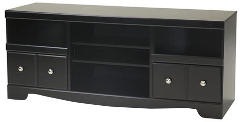 shay large tv stand  fireplace option  black