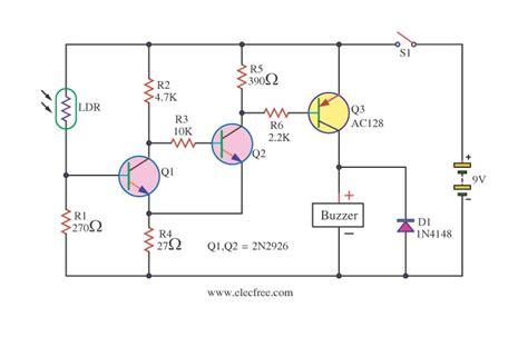 Four Light Sensor Alarm Circuits Eleccircuit