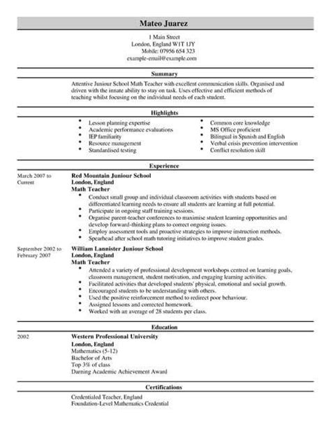teacher cv template cv sles exles