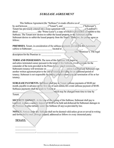sublease agreement form sublet contract template