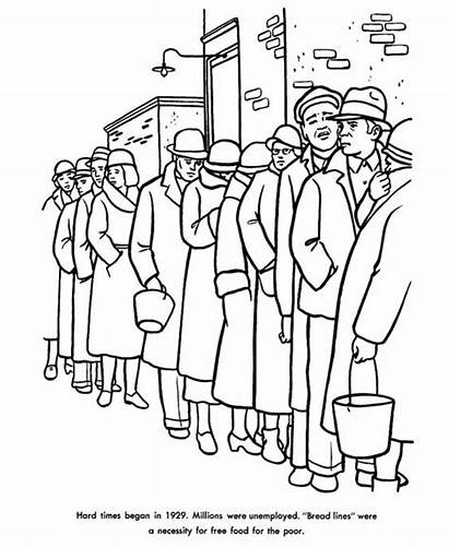 Depression Coloring Pages Labor History American Sheets