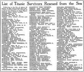 List of Titanic Survivors Rescued from the Sea, Idaho Statesman ...