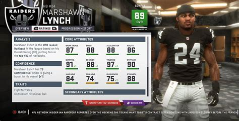 madden  oakland raiders player ratings roster depth