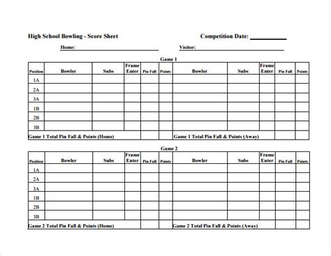 Bowling Score Sheet Template  9+ Download Free Documents